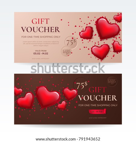 Vector Set Romantic Gift Vouchers Day Stock Vector - Romantic gift certificate template
