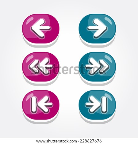 Vector set of round arrow buttons in dark magenta and cyan with shadows. Menu elements for web or game design. GUI design for social game.