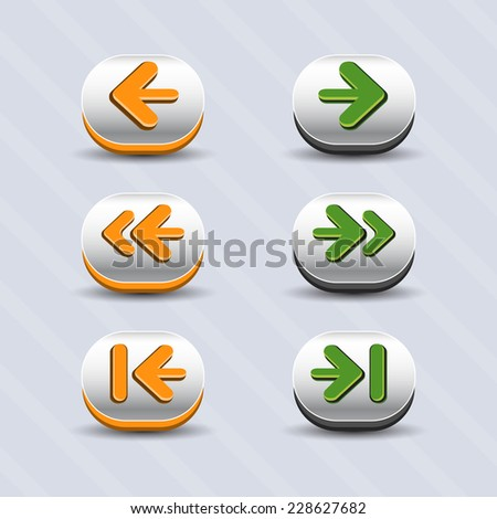 Vector set of round arrow buttons in green and orange with shadows. Menu elements for web or game design. GUI design for social game.