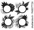 Vector set of round black vintage frames with flowers - stock vector