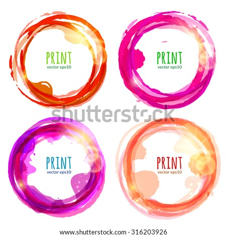 Vector set of round colorful banners with patches of sunlight, isolated on white background.  Abstract design elements. Vector illustration. - stock vector
