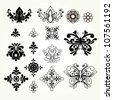 Vector set of royal damask elements - stock vector