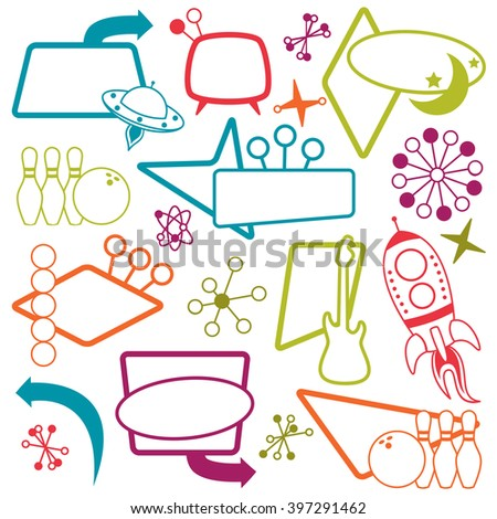 Vector Set of 1950s or Retro Themed Signs - stock vector