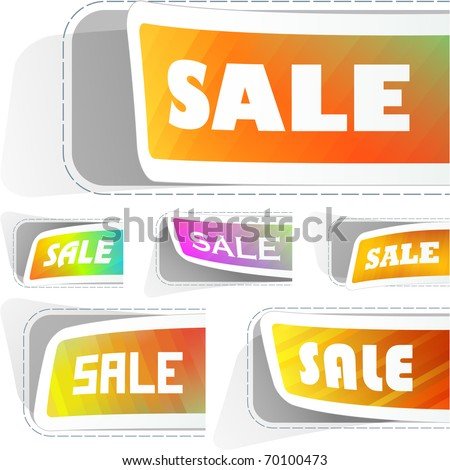 Vector set of sale design elements isolated on white background. - stock vector