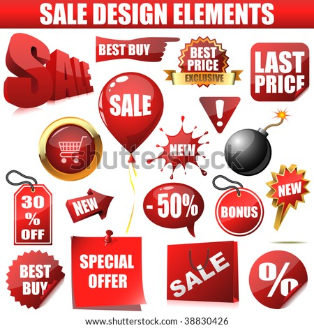 Vector set of sale design elements isolated on white background. The text is on separate layer and can be easily removed. - stock vector