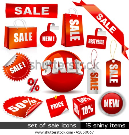 Vector set of sale icons. - stock vector