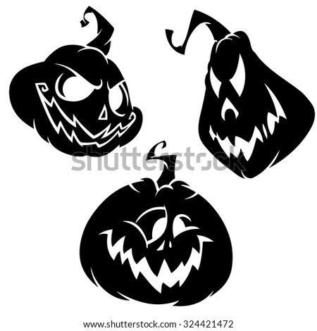 Vector set of scary Halloween pumpkins head. Black outline on white isolated background - stock vector