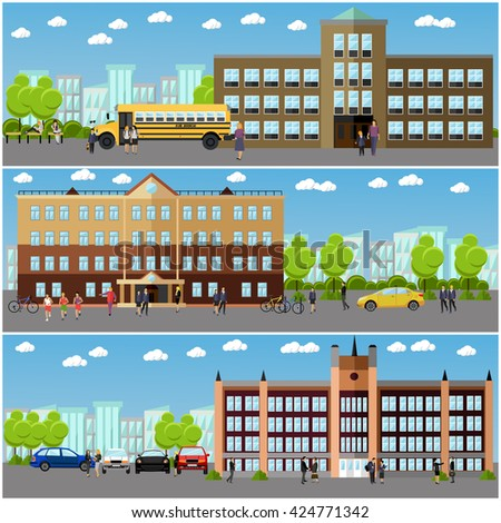 Vector set of school and college banners. Students and teachers walk next to university and school buildings. - stock vector