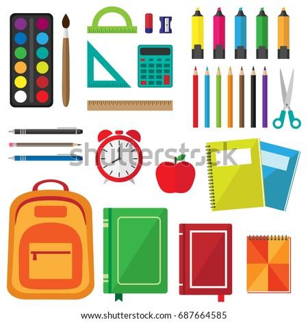 Vector Set School Supplies Back School Stock Vector ...