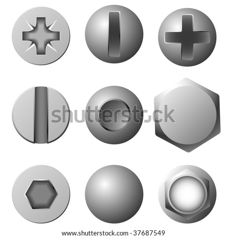 Vector set of screws, bolts and rivets isolated on white background. - stock vector