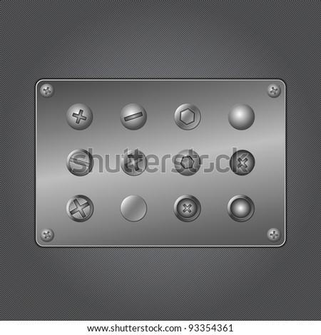 Vector set of screws on metal plate - stock vector