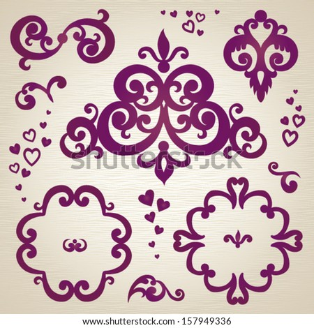 Vector set of scrolls and vignettes in east style. Element for design. It can be used for decorating of invitations, cards, decoration for bags and at tattoo creation. - stock vector