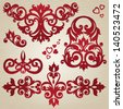 Vector set of scrolls and vignettes in Victorian style. Element for design. It can be used for decorating of invitations, cards, decoration for bags and at tattoo creation. - stock