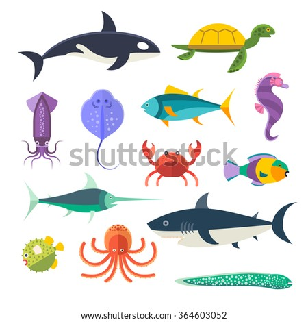Vector set of sea marine fish and animals. Shark, squid, octopus, sawfish, hedgehog, saw, crab, dolphin, killer whale, whale, clownfish, sea horse, turtle, stingray, moray. Sea wild fish collection - stock vector