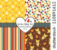 Vector set of 4 seamless baby background patterns. Great for greeting cards, baby cards, baby shower, baptism, christening, scrap booking, gift wrapping paper. See my folio for other  versions. - stock vector