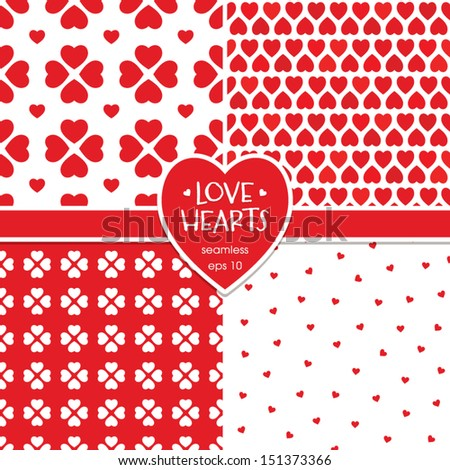 Vector set of seamless background patterns with red hearts. Great for Valentine's Day, Christmas, wedding, scrapbook, surface textures. See my folio for more in this series and for JPEG versions.   - stock vector
