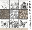vector set of seamless floral patterns and hand drawn cards with flowers and butterflies - stock vector
