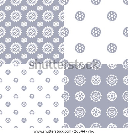 Vector set of seamless gear patterns. Various technical backgrounds of gear silhouettes. - stock vector