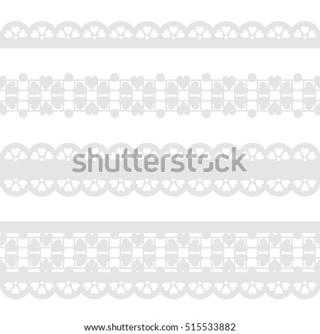 Vector Set of seamless gray lace ribbon isolated on a white background.