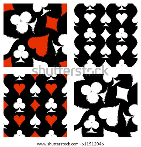 Vector set of seamless grunge patterns. Grungy graphic illustration of sign of playing card with ink blot, brush strokes. Endless background. Series of gaming and gambling seamless vector patterns.
