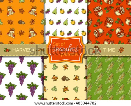 Vector set of seamless harvest patterns. Autumn leaf, nut, berry and jam, corn, mushroom, grape, jam, apple and pear. Boundless pattern for your design. Fall time. Thanksgiving day.