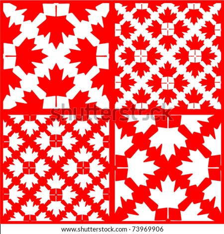 vector set of seamless maple leaf patterns - stock vector