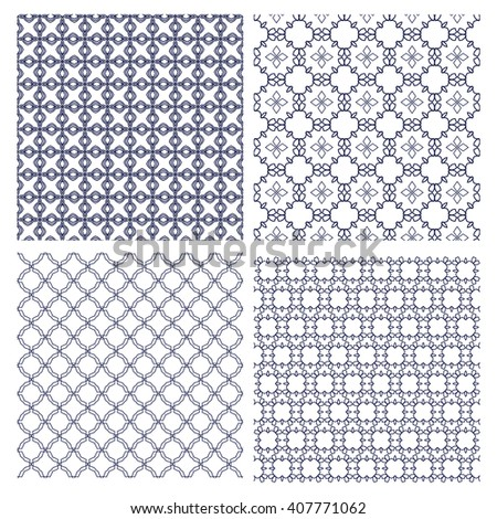 Vector set of seamless monochrome line patterns. Stylish graphic geometric backgrounds
