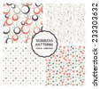 Vector set of seamless patterns. Abstract geometric backgrounds. Colorful rings, fine chaotic flowers, small randomly circles . Cute patterns can be used for business cards, textiles, wallpaper etc. - stock