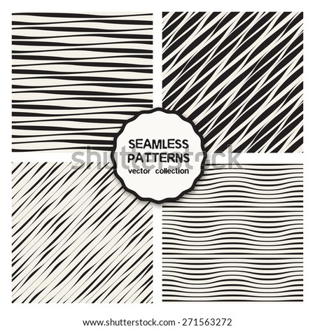 Vector set of seamless patterns. Abstract wavy backgrounds. Patterns with diagonal ripples, optic illusion, stripes. Cute monochrome collection. Modern graphic design - stock vector