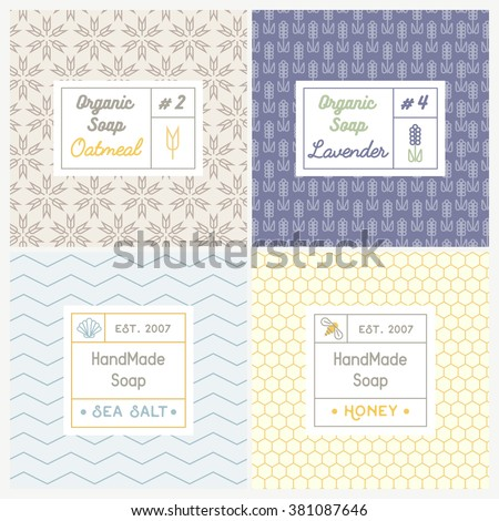 Vector set of seamless patterns for handmade soap. Linear design templates for most popular soap recipes: milk and honey, oat, lavender and sea salt. With their symbols: shell, bee, flower and ear. - stock vector