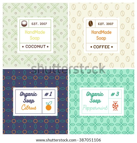 Vector set of seamless patterns for handmade soap. Linear design templates for most popular soap recipes: coconut milk, peppermint, citrus and coffee. With their symbols: fruit, nut, candy, bean. - stock vector