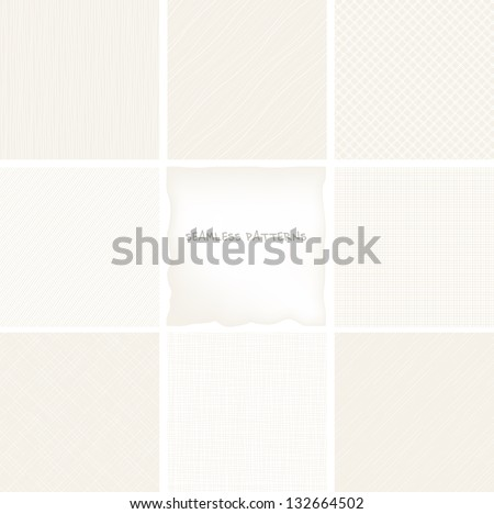 Vector set of seamless patterns. Neutral abstract backgrounds. Texture of fabric - stock vector