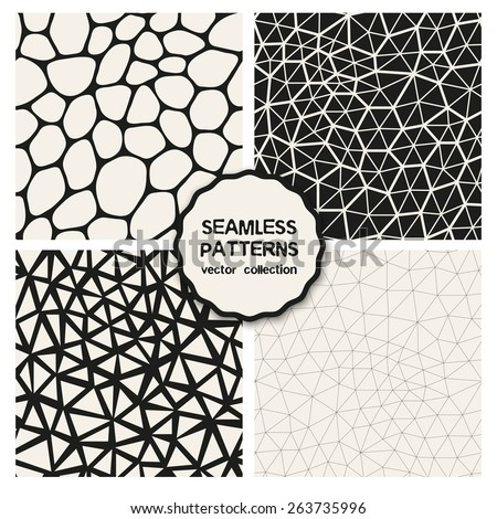Vector set of seamless patterns. Repeating geometric tiles. Collection of trendy textures with polygons, triangles. Stylish hipster prints. Linear polygonal grids. Modern graphic design. - stock vector