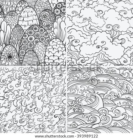 Vector set of seamless patterns with waves, fire, clouds and bushes. Contour illustrations. Asian theme. Nature background, 4 elements. - stock vector