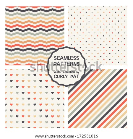 Vector set of seamless patterns. Zig zag and polka dot patterns. Striped diagonal textures - stock vector