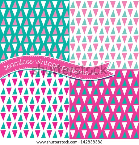 Vector set of seamless retro background patterns in pink and green. Good for Baby Shower, Scrapbook, Greeting Cards, Gift Wrap, Surface Textures. See my folio for other colors and for JPEG versions. - stock vector