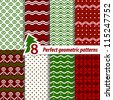 Vector set of seamless retro Christmas patterns. - stock vector
