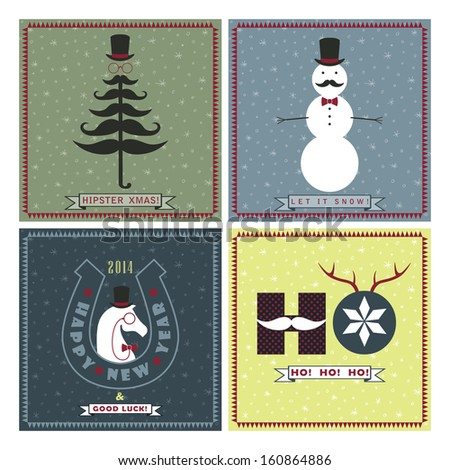 Vector Set of Seasonal Greeting Cards in Hipster Style, Merry Christmas, Happy New Year - stock vector