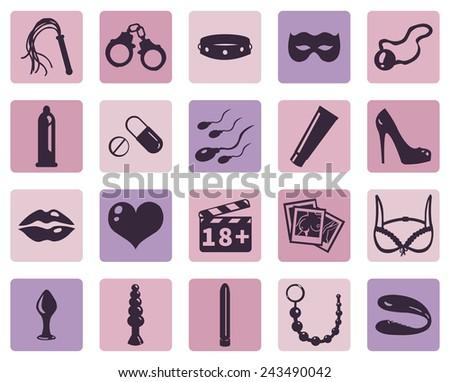 Vector Set of Sex Shop Icons - stock vector
