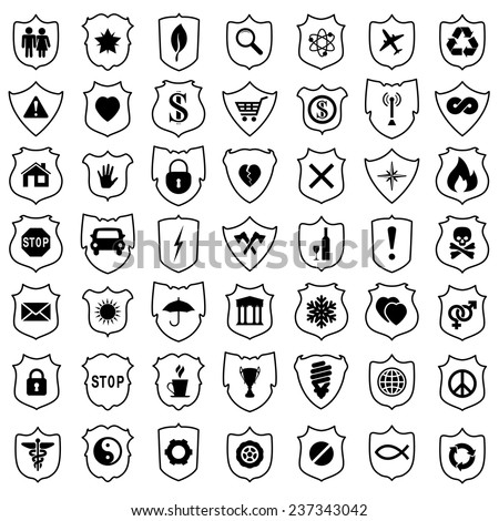 vector set of shield signs - stock vector