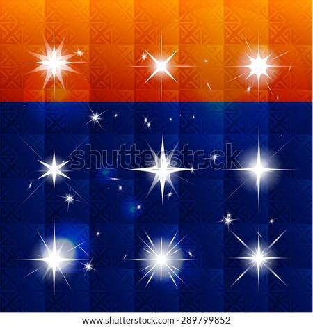 Vector set of shining stars, light effect, the stars glitter, star shines. Colorfull background. Vector Illustration - stock vector
