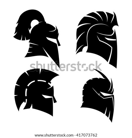 Vector set of signs. Knight's and Spartan helmets.
