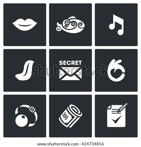 Vector Set of Silence Icons. Muteness, fish, sound, language, secret, gesture, gag, bribe, document on the non-disclosure. Preservation of silence and keeping secrets. Symbols on a White Background - stock vector