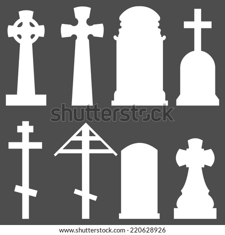 Vector Set of Silhouette Tombstones - stock vector