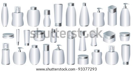 Vector set of silver cosmetic packages - stock vector