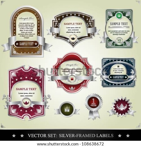 Vector set of silver framed labels - stock vector