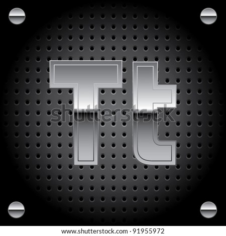 Vector set of silver metal font on metallic perforated background - letter T - stock vector