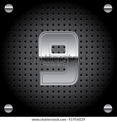 Vector set of silver metal font on metallic perforated background - number nine - 9