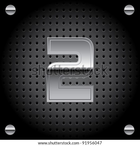 Vector set of silver metal font on metallic perforated background - number two - 2 - stock vector