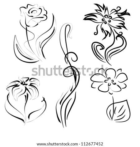 Vector Set Of Simple Flowers